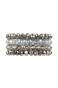 S19-9-1-AHDB2259HE HEMATITE FOUR LINE CRYSTAL BEADS STRETCH BRACELET/6PCS