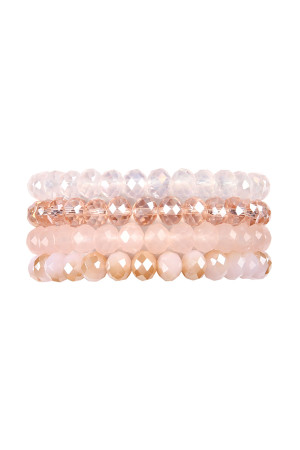 SA4-1-2-AHDB2259PK PINK FOUR LINE CRYSTAL BEADS STRETCH BRACELET/6PCS