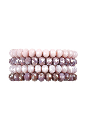 S7-4-1-AHDB2259PU PURPLE FOUR LINE CRYSTAL BEADS STRETCH BRACELET/6PCS