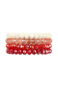 S19-11-1-AHDB2259RD RED FOUR LINE CRYSTAL BEADS STRETCH BRACELET/6PCS