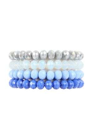 S5-5-2-AHDB2259SP SAPPHIRE FOUR LINE CRYSTAL BEADS STRETCH BRACELET/6PCS