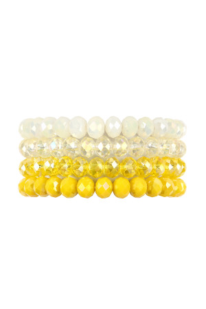 S4-4-4-AHDB2259YW YELLOW FOUR LINE CRYSTAL BEADS STRETCH BRACELET/6PCS