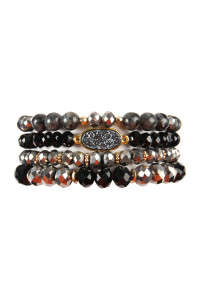 S4-5-4-AHDB2273BK BLACK DRUZY OVAL MIXED BEADS BRACELET SET/6SETS