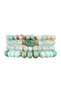 S4-5-4-AHDB2273MN MINT DRUZY OVAL MIXED BEADS BRACELET SET/6SETS