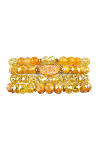 S4-5-3-AHDB2273YW YELLOW DRUZY OVAL MIXED BEADS BRACELET SET/6SETS