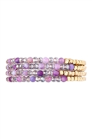 S4-4-4-AHDB2274LPU PURPLE BRASS, STONE, GLASS FOUR SET BEADS BRACELET/6PCS