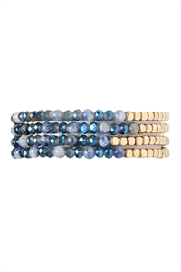 S4-4-3-AHDB2274MO MONTANA BLUE BRASS, STONE, GLASS FOUR SET BEADS BRACELET/6PCS