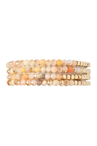 S4-4-3-AHDB2274PE PEACH BRASS, STONE, GLASS FOUR SET BEADS BRACELET/6PCS