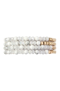 SA4-1-3-AHDB2274WT WHITE BRASS, STONE, GLASS FOUR SET BEADS BRACELET/6PCS