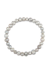 S4-5-2-AHDB2277GY - GLASS COATED FRESH PEARL STRETCH BRACELET - GRAY/6PCS