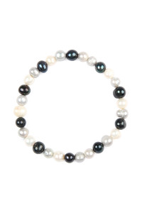 S5-5-4-AHDB2277MT - GLASS COATED FRESH PEARL STRETCH BRACELET - MULTICOLOR/6PCS