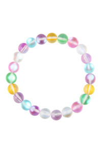 SA4-2-3-AHDB2279MT MULTICOLOR CHIC COLORED MERMAID GLASS STRETCH BRACELET/6PCS