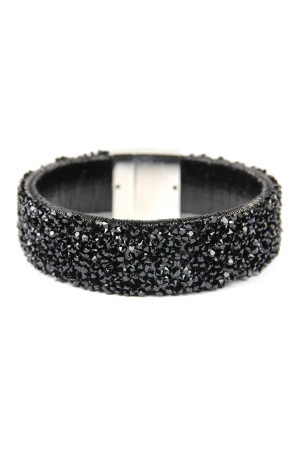 S7-5-4-AHDB2302BK BLACK WIDE RHINESTONE BANGLE BRACELET/6PCS