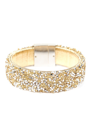 SA4-3-3-AHDB2302G GOLD WIDE RHINESTONE BANGLE BRACELET/6PCS
