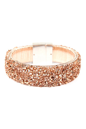 S4-5-2-AHDB2302RG ROSE GOLD WIDE RHINESTONE BANGLE BRACELET/6PCS