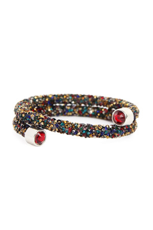 S5-6-2-AHDB2308DMT MULTICOLOR MEMORY WIRE RHINESTONE COATED BRACELET/6PCS