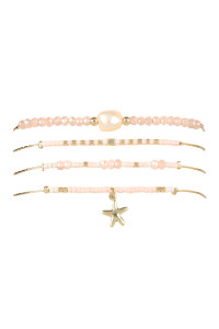 S7-5-1-AHDB2348PK PINK FRESH PEARL WITH CAST STAR FISH CHARM BRACELET/6PCS