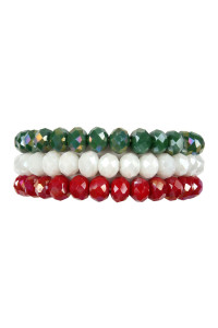 S7-6-3-AHDB2481 IRIDESCENT GREEN WHITE RED THREE GLASS BEADS STRETCH BRACELET/6PCS