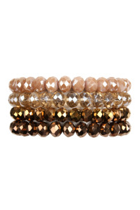 SA3-1-2-AHDB2499BR BROWN 4 LINE GLASS BEADS STRETCH BRACELET/6PCS