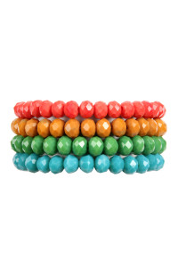 SA3-1-2-AHDB2499DMT DARK MULTI COLOR 4 LINE GLASS BEADS STRETCH BRACELET/6PCS