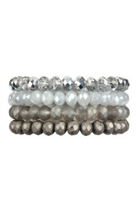 S4-4-1-AHDB2499GY GRAY 4 LINE GLASS BEADS STRETCH BRACELET/6PCS