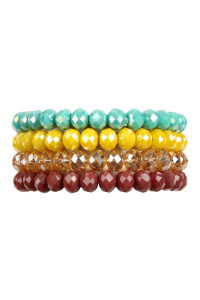 A2-2-3-AHDB2499MT MULTI COLOR 4 LINE GLASS BEADS STRETCH BRACELET/6PCS