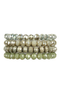 SA3-1-2-AHDB2499OV OLIVE 4 LINE GLASS BEADS STRETCH BRACELET/6PCS