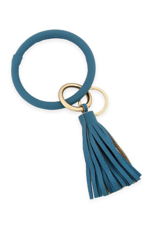 SA3-3-4-AHDB2508BBL DUSTY BLUE LEATHER COATED KEY RING WITH LEATHER TASSEL/6PCS