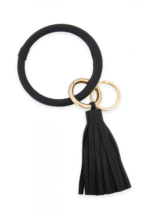 A2-3-4-AHDB2508BK BLACK LEATHER COATED KEY RING WITH LEATHER TASSEL/6PCS