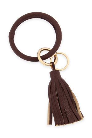 SA3-1-2-AHDB2508BR BROWN LEATHER COATED KEY RING WITH LEATHER TASSEL/6PCS
