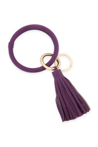 SA4-1-1-AHDB2508DPU DARK PURPLE LEATHER COATED KEY RING WITH LEATHER TASSEL/6PCS