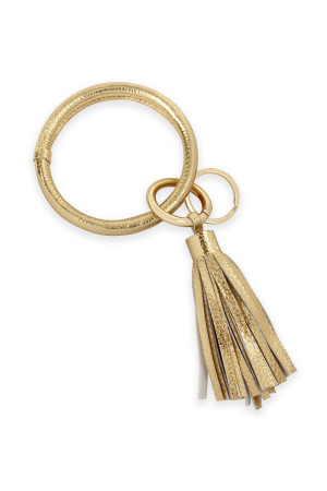 SA4-1-1-AHDB2508G GOLD LEATHER COATED KEY RING WITH LEATHER TASSEL/6PCS