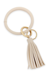 SA3-2-3-AHDB2508IV IVORY LEATHER COATED KEY RING WITH LEATHER TASSEL/6PCS
