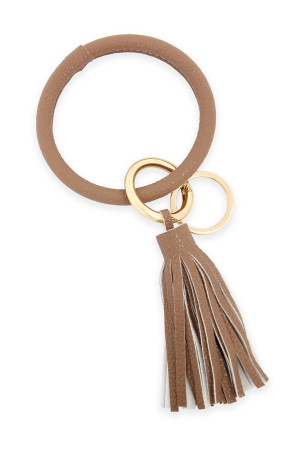 SA3-3-4-AHDB2508LBR LIGHT BROWN LEATHER COATED KEY RING WITH LEATHER TASSEL/6PCS