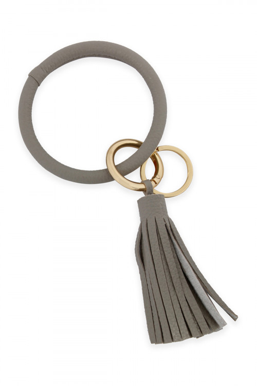 A2-3-3-AHDB2508LGY LIGHT GRAY LEATHER COATED KEY RING WITH LEATHER TASSEL/6PCS