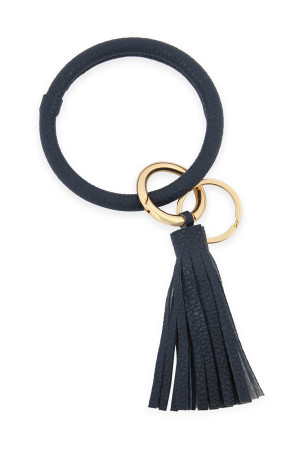 SA5-6-2-AHDB2508NV NAVY LEATHER COATED KEY RING WITH LEATHER TASSEL/6PCS
