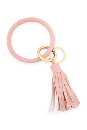 A2-3-4-AHDB2508PK PINK LEATHER COATED KEY RING WITH LEATHER TASSEL/6PCS