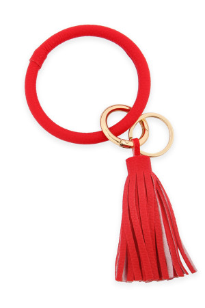A2-3-4-AHDB2508RD RED LEATHER COATED KEY RING WITH LEATHER TASSEL/6PCS
