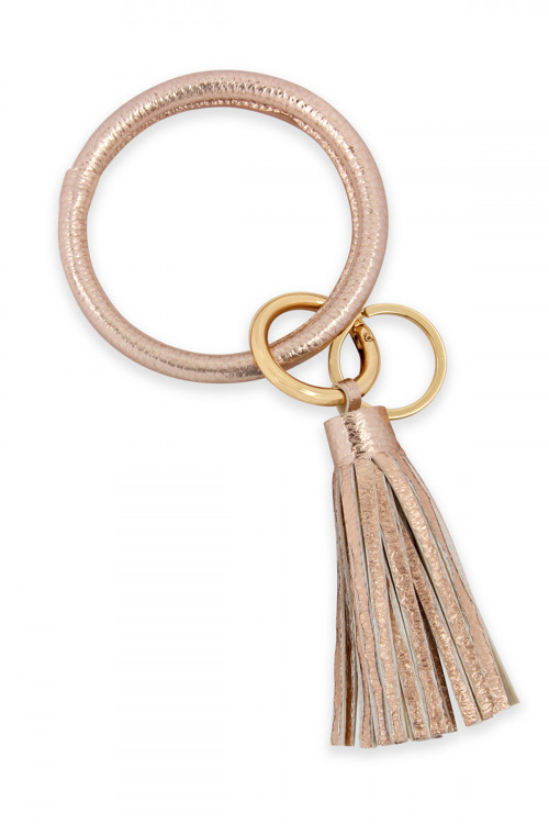 A2-3-4-AHDB2508RG ROSE GOLD LEATHER COATED KEY RING WITH LEATHER TASSEL/6PCS
