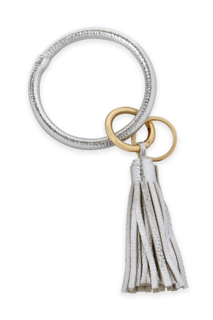 SA3-3-4-AHDB2508S SILVER LEATHER COATED KEY RING WITH LEATHER TASSEL/6PCS