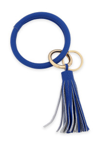 SA4-1-1-AHDB2508SP SAPPHIRE LEATHER COATED KEY RING WITH LEATHER TASSEL/6PCS