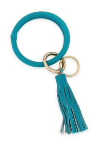 SA3-1-2-AHDB2508TQ TURQUOISE LEATHER COATED KEY RING WITH LEATHER TASSEL/6PCS