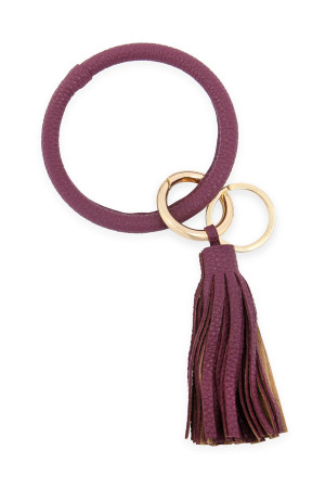 SA3-2-3-AHDB2508WIN WINE LEATHER COATED KEY RING WITH LEATHER TASSEL/6PCS