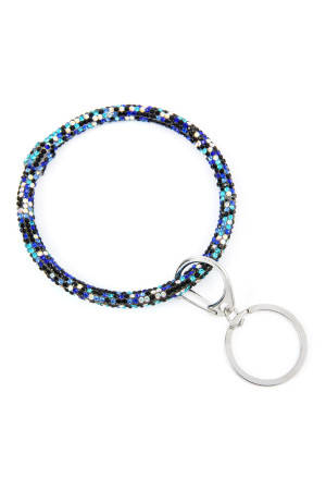 SA3-1-3-AHDB2509BLMT BLUE MULTI RHINESTONES KEY RING/6PCS