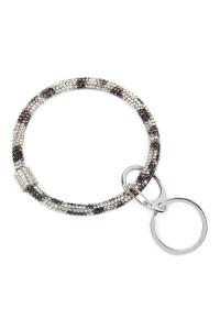 S5-5-2-AHDB2509BW BLACK WHITE RHINESTONES KEY RING/6PCS