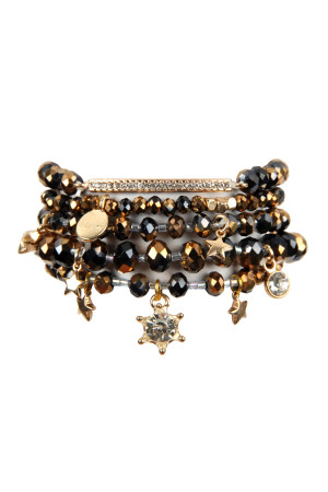 S4-5-3-AHDB2540BKG BLACK GOLD GLASS BEADS CHARM BRACELET SET/6SETS