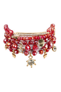 S7-4-2-AHDB2540BU BURGUNDY GLASS BEADS CHARM BRACELET SET/6SETS