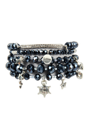 S4-5-3-AHDB2540HE HEMATITE GLASS BEADS CHARM BRACELET SET/6SETS