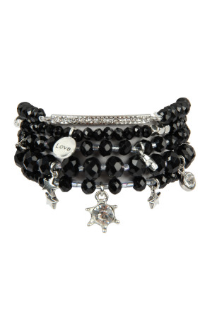 S7-4-4-AHDB2540JT JET BLACK GLASS BEADS CHARM BRACELET SET/6SETS