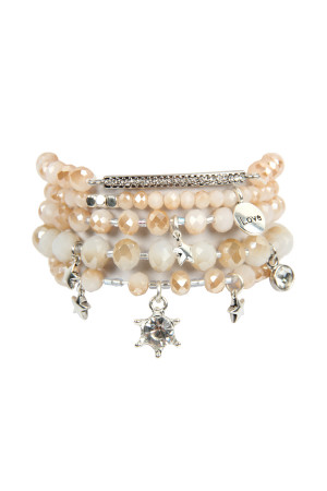 S5-5-2-AHDB2540NA NATURAL GLASS BEADS CHARM BRACELET SET/6SETS